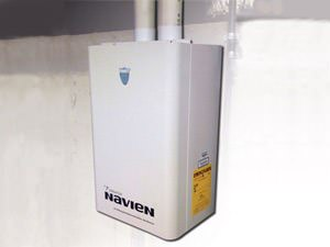 A tankless water heater in New Jersey -- installation in an attic space.