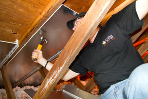 A radiant barrier installed in a Middletown attic